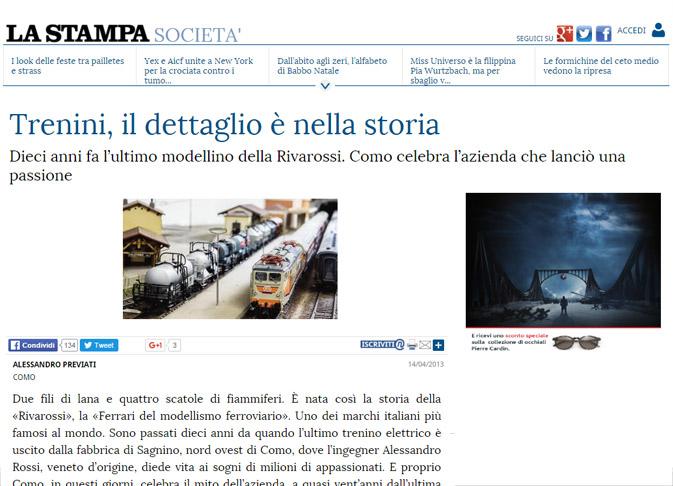 La Stampa Trenini mostra Rivarossi Paolo Albano Architetto Como