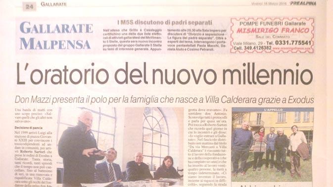 Inaugurazione Villa Calderara Exodus Presentazione Don Mazzi Paolo Albano Architetto Como Giornale Gallarate